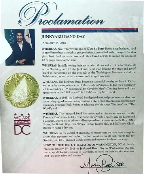 Official proclamation letter by Washington, DC Mayor Muriel Bowser